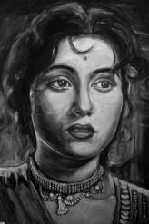 Madhubala, oil on canvas, 12x16 inches