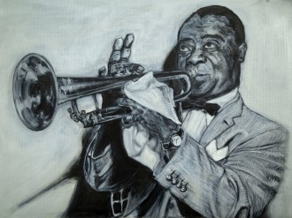 Louis Armstrong, oil on canvas, 12x16 inches